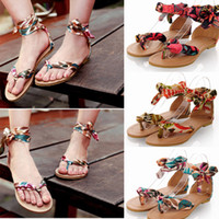 Wholesale 2014 New Summer Fashion Women Sandals Shoes Flats Floral Print Toe post Thin Shoes Sandals Round Toe SW037