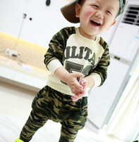 Boy Summer Long T-shirt &pant fashion new baby boy camouflage suit set
