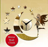 Mechanical listed in stock Plastic [listed in stock]-Free Ship TinkerBell Moon And Star Mirror Wall Sticker Clock Silent Decorate For Office&Bedroom
