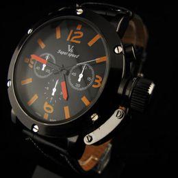 Wholesale V6 Military Army Style Quartz Watch Jumbo 48mm Case Men Stylish Orange Dial Black Leather Band Big Wrist Watches Wristwatch Analog