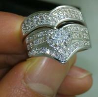 Wholesale Size Luxurious jewelry set kt white gold filled white topaz wedding Ring set gift