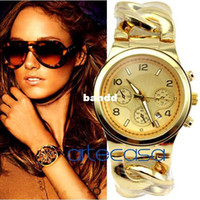Women's Complete Calendar Round Wholesale-New Top Quality Japan Movements,Famous Cowboy Chain Wristband Fashion Women Quartz Wrist Calendar Watch with LOGO