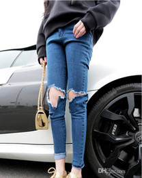 Wholesale New Popular Knee Broken Hole Cowboy Pencil Long Jeans Sexy Casual Women Long Jeans