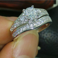 Wholesale size Brand design new fashion jewelry kt white gold filled white topaz CZ Gem women weddiing ring set gift