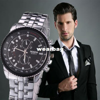 Men's Mechanical Hand-winding Round Wholesale-2014 new Top Quality Fashion Luxury Men Hour Black Round Dial Silver Stainless Steel Quartz Watch,full steel men watch