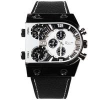 Men's Tonneau 25 Wholesale-Brand Name Oulm Clock Men Genuine Leather Japan Movement Quartz Watch Best Gifts Top Quality