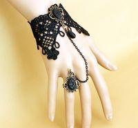 Charm Bracelets Other Women's 10 pcs set New In Gothic vintage style bronze metal black hollow out lace rose flower acrylic drop bracelet rings GS059