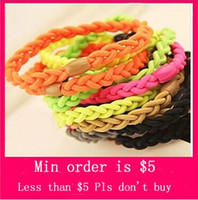 Barrettes & Clips Women's Other Min.Order $5( Mix Jewelry order)South Korea imported high quality fluorescent color weaving hair band elastic hair accessories Korea tire H