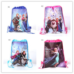 Wholesale Frozen Hangbag Anna Elsa Princess Romance Woven Double Sided Printing Drawstring Bags BB190
