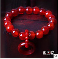 Wholesale Genuine A10mm collections featured Brazilian natural crystal jewelry red agate bracelet