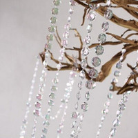 crystal beads strands - 99 Feet Crystal Garland Strands Acrylic Clear Beads Chain Wedding Centerpiece ManzanitaTree Hung Strands Strung