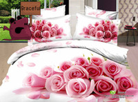 100% Cotton Cotton Twill Free Shipping 3D Oil Painting Rose Series Bedding Sets Full Queen 4PCS Pure Cotton Reactive Printed Pink Rose Bedding Sets