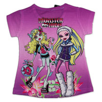 Girl Summer Standard Free Shipping 2014 New Summer Girls Monster High t-shirt Tees Baby Cartoon Tshirts Casual Clothing Kids Printed T-shirts