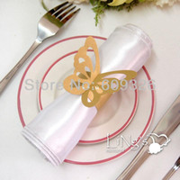 Valentine's Day NKPBTF-GLD*50 Event & Party Supplies Wholesale - For party for wedding 50pcs Gold Butterfly Paper Napkin Rings Free Shipping
