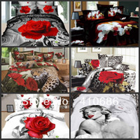 100% Cotton Woven Twill Promotion hot cotton 3D Bedding sets Rose Flowers Animal Marilyn Monroe bedspread Duvet Cover Bed sheet 4pcs set No Comforter