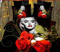 Polyester / Cotton Adult 40 Marilyn monroe bedding Red flower comforter sets BIG ROSE 4pc bedding set 3d bedlinen queen comforter set Quilt cover sets