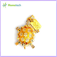 Wholesale Retail Novelty Jewelry Tortoise Shape Crystal USB Flash Drives Pen Drive Memory Stick Disk Gift GB GB GB GB GB