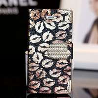 For Apple iPhone Leather Black New Arrival Fashion style Sexy lips leather wallet case for iphone 5s Wholesale card holder holster for iphone 5 case 200 pcs lot on sale