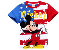 Wholesale 1 National Flag NEW Fashion Mickey Minnie children s short sleeve T shirt Cartoon kids boys girl tops tees