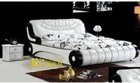 Wholesale New High End Beds Hunk Bed Bedroom Furniture Black and white embroidery meters meters leather bed