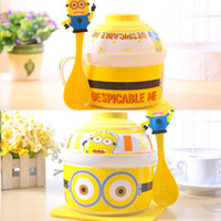 Sashes Yellow Uncle Stores 3477 wholesale creative cartoon little yellow NPC No. ceramic bowl of instant noodles cup of noodles soup bowl with lid cute suit