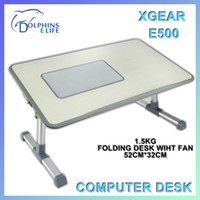 Metal XGear 52cm*32cm XGear E500 Folding Laptop Desk 1.5Kg More Lighter Material with 12Cm 1200RPM DC5V Radiator Fan Self Protection and Block Slice