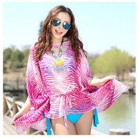 Wholesale 2015 New Bohemia multicolor zebra stripe bikini mantle chiffon beach towel ultra thin blouses batwing sleeve plus size print beach clothing