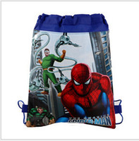 Wholesale Spider man spiderman foreign trade double sided non woven fabric printing beam pumping mouth rope bag Children s school bag of gifts for chi