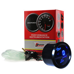 Wholesale BLACK quot mm CAR AUTO MOTOR DIGITAL BLUE LED PSI BOOST GAUGE CAR AUTO