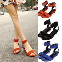 Women Low Heel Leather Fashion women summer Sandals Leather buckle open toe wedge sandals leather shoes Free Shipping P154 utility