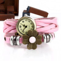 Wholesale Fashion Stylish Genuine Cow Leather watches Lady Vintage Charm Watch Weave Flower Watch