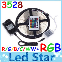 Wholesale Waterproof Non waterproof CW WW Red Blue Green RGB LED Strip Light Lamp M Led SMD IR Remote Controller V A Power Transforme