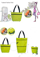 Plain shopping trolley bag - shopping bag with trolley foldable round dot tug bag K08117