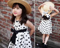 Wholesale Casual Cotton Girls dress Sleeveless Dot Bowknot Dresses children clothing toddler clothing Korean girls dresses Size for T