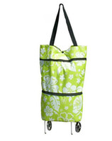 Trolley Floral Oxford fabric The Cheapest Price 100pcs fabric Portable folding tug package shopping bag travel bag #K08118