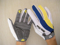 Wholesale Bicycle sports racing bike cycling antiskid Gel protector full finger gloves Yellow Blue M L XL