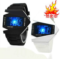 airplane shapes - Piece New Cool Luxury Oversized Airplane Style Light Digital Sports Rubber Wrist Watch