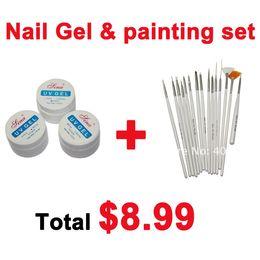 Wholesale 3 Colours UV Nail Art Builder Acrylic Gel Clear White Pink set nail art Design Painting Pen Big discount price