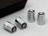 Wholesale Freeshipping Set Jaguar Emblem Chrome Aluminum Tire Wheel Stem air Valve CAPS