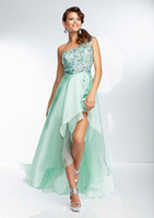 Wholesale High Low Style Beaded One Shoulder See Through Mint Coral Lavender Chiffon Front Short Long Back Prom Dresses Evening Gowns