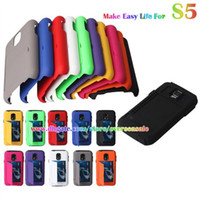 For Samsung Plastic  ID Credit Card kickstand stand Shockproof Hybrid Hard Plastic Rubber silicone cover case cases for Samsung Galaxy S5 SV I9600 50pcs 100pcs