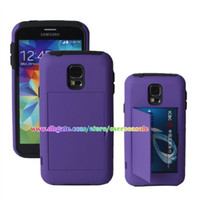 For Samsung Plastic  With ID Credit Card Kickstand Shockproof Hybrid Hard Plastic Rubber silicone skin cover case cases for Samsung Galaxy S5 SV I9600 5pcs 10pcs