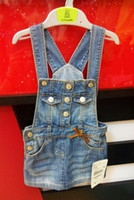 Wholesale 2014 Summer New Brief Dresses For Baby Girls Princess Denim Jeans Kids Cute Strap Dress Brand Name