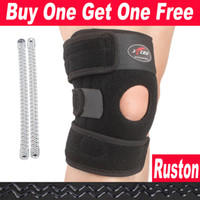Wholesale FreeShippin Buy One Get One Free Adjustable Sports Leg Knee Support Brace Wrap Protector Pads Cap Patella Guard Spring Bars One Size Black