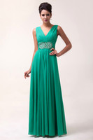 Wholesale Cheap Grace Karin New Deep V Neck Chiffon Ruched A Line Long Floor Length Ball Gown Evening Prom Party Dress Sizes Green CL6064