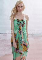 Wholesale Cheap light green Sunflower chiffon Sarongs summer Sarongs BEACH SCARF SEXY Cover up Sarongs women beach scarf