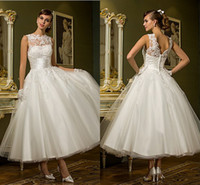 A-Line ankle length dresses - Olesa Simple Spring Jewel Sleeveless A line Ankle length Open Back Criss Cross Buttons Beading Appliques Tulle Wedding Dress
