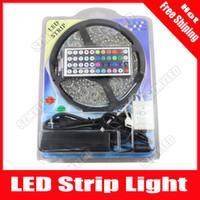 Wholesale 5M Leds Flexible RGB Led Strip SMD Waterproof LED Light Ribbon key IR Remote Controller V A Power Supply