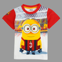 Wholesale kids clothes despicalbe me minion print t shirts for boys tshirts badge embroidery design cartoon summer tops white nova brand C5045Y
