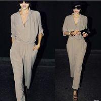 Wholesale Fashion Chiffon Shirt Collar Jumpsuit Half Sleeve Solid Color Shirt Harem Pants Loose Casual Pants Ladies Jumpsuits Size XS S M L XL